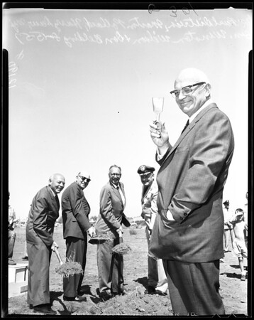 Breaking ground for Van Nuys Airport expansion, 1957