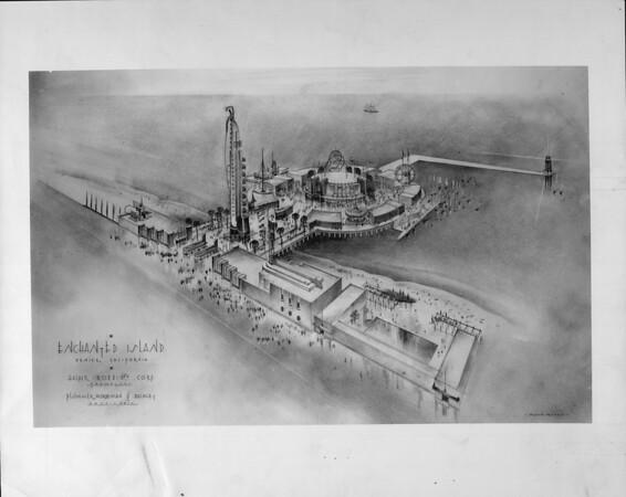 Artist's conception of Enchanted Island amusement park, Venice, California