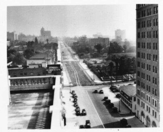 A portion of Wilshire Boulevard as it extends through Korea Town, still needing to be paved