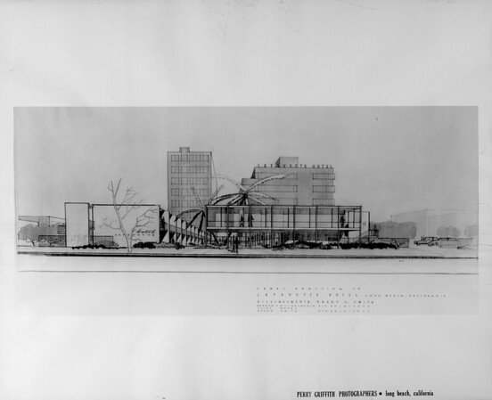 Artist's conception of the Lanai addition to the LaFayette Hotel from across the street, designed by architects Ellingsworth, Brady & Smith