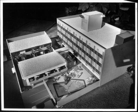 Architect's model of the Beverly Crest hotel