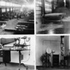Four pictures in one with each showing different types of machinery within a factory