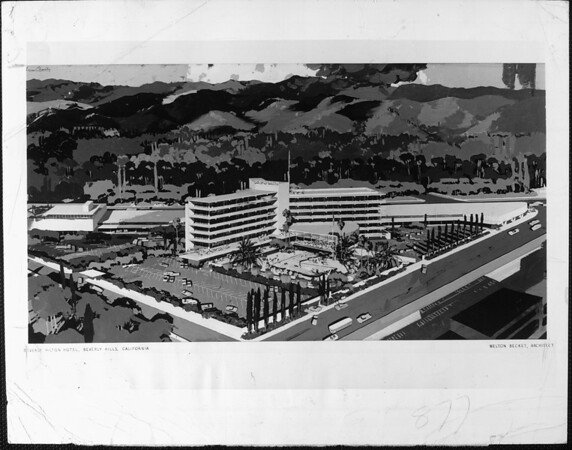 Artist's conception of the Beverly Hilton Hotel, designed by Welton Becket, architect
