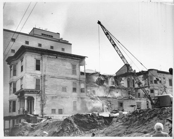 Hotel destruction on Bunker Hill, Grand Hotel being knocked down by the Cleveland Wrecking Company looking north
