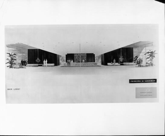 Artist's conception of the main lobby of a hotel designed by Pereira & Luckman