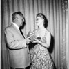 Presenting ham to Governor Knight, 1958