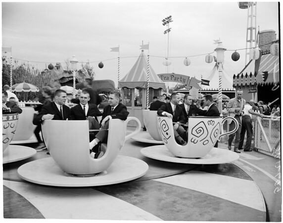 Football -- Rose Bowl teams at Disneyland, 1959