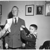 """""""Mr. Boy Scout"""" of San Gabriel Valley, receives pin and salute upon retirement, 1952"""