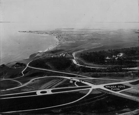 Malaga Cove showing the proposed site for the Malaga Cove Plaza