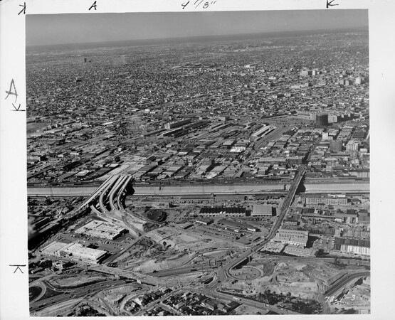 Los Angeles aerial view, looking westerly toward East Los Angeles