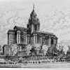 Artist's conception of the more than 20-story ornate Castilian Hotel, Long Beach, California, designed by Lyman-Farwell
