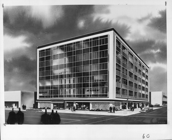 A drawing of Parkway building undergoing renewal, Pasadena, 1959