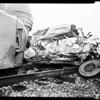 Train versus auto wreck at Valley Boulevard and Nogales Street, La Puente, 1958