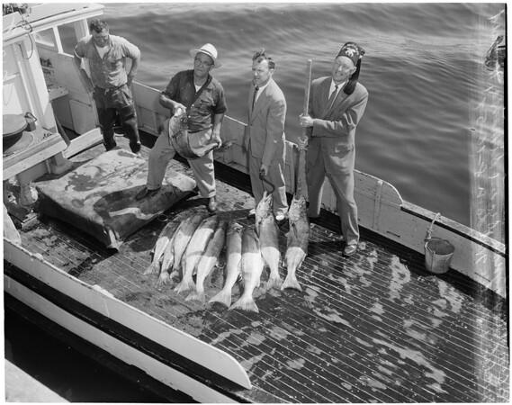 Elks with fish (San Pedro), 1957