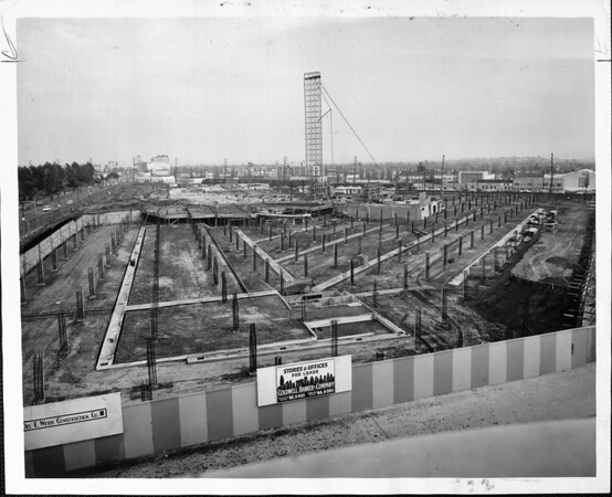 Construction site of the Beverly Hilton Hotel, Del E. Webb Construction Company