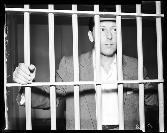 San Bernardino County gambling suspect in jail, 1957