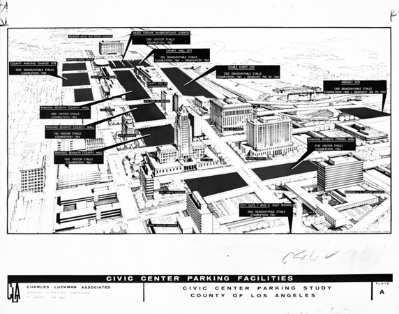 Drawing of Civic Center Parking Facilities, 1961