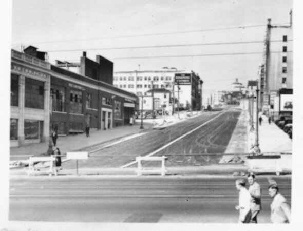 Wilshire Boulevard when it still had streetcar lines running along it