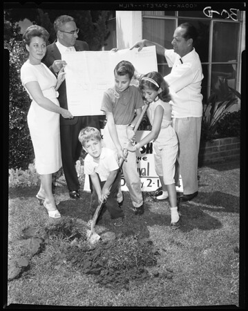 Fall-out shelter ground breaking at home of Paul Miller, 10716 Esther Avenue in West Los Angeles, 1960