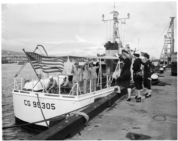 Coast Guard leaving for training cruise, 1957