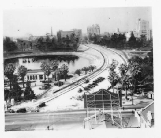 View of Wilshire Boulevard facing west, going through MacArthur Park