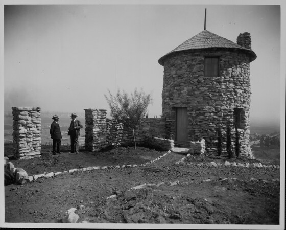A circular stone building on a hill in Palos Verdes Estates