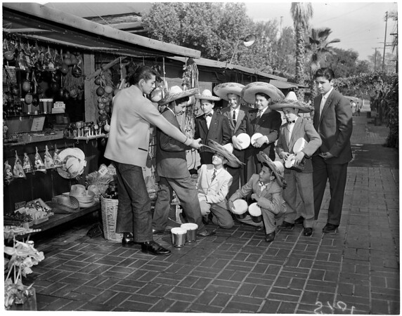 Mexican boys visit shop keeper, 1960