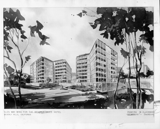 Artist's conception of the Glen Way Wing for the Beverly Hills Hotel designed by Pereira & Luckman, architects & engineers