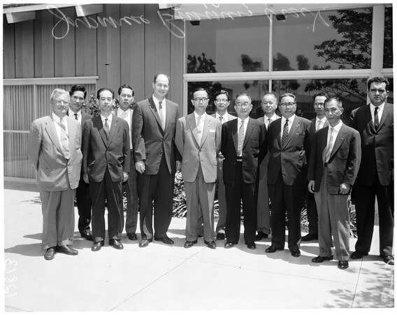 Japanese businessmen visit University of California, Los Angeles, 1960