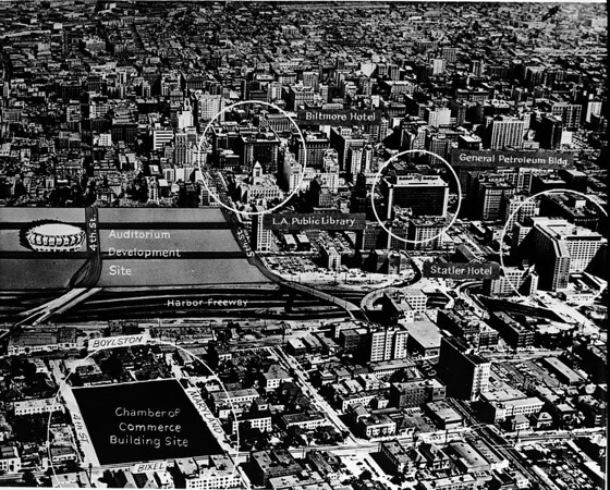 Aerial photo of Downtown Los Angeles showing a proposed site for the Los Angeles Civic Auditorium