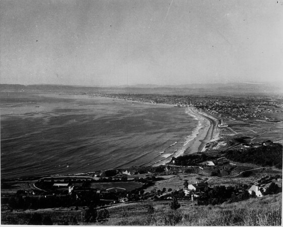 Looking north from the top of the Palos Verdes Hills along an approximately fifteen mile range of the Bay District