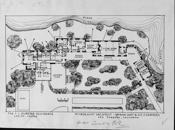 Architectural floorplans [sketch] for the F.L. Olmsed residence