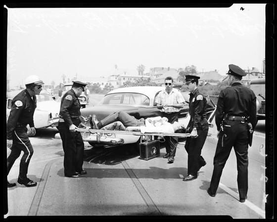 Traffic accident on Santa Ana Freeway at 1st Street, 1959