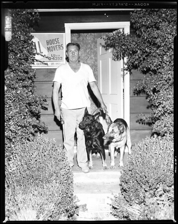 Man and dogs freightened burglar, 1957