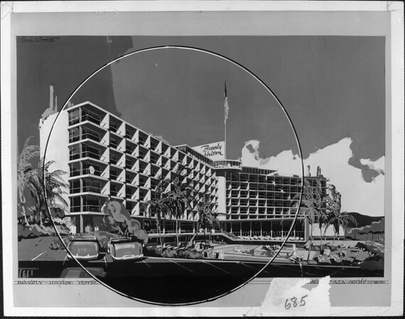 Artist's conception of the Beverly Hilton hotel