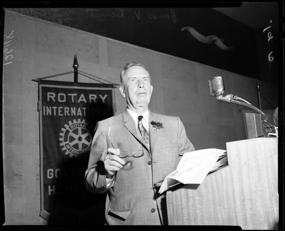 Rotary Club speaker, 1959