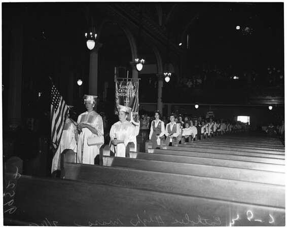 Detail 4 of 6, Catholic Daughters at High Mass at Saint Vibiana's Cathedral, 1953