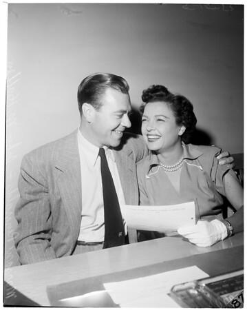 Marjorie Reynolds wedding license, 1953