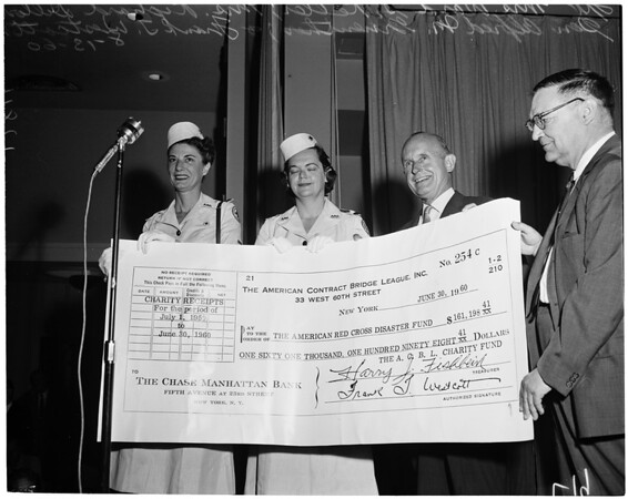 Check for $161,000 presented to Red Cros by American Contract Bridge League, 1960