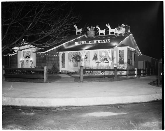 Christmas theme home decoration, North Hollywood, 1953