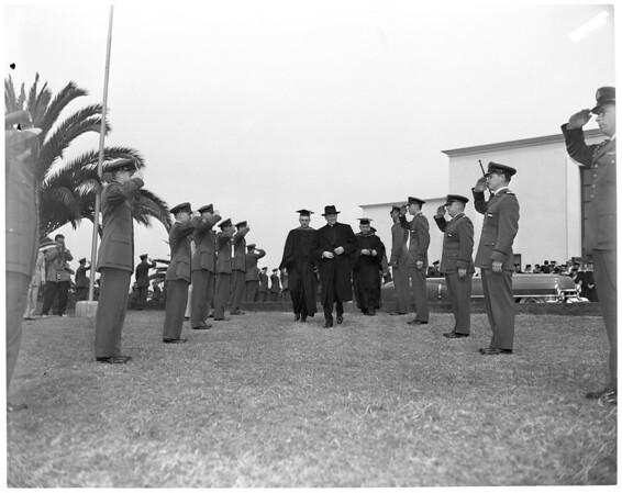McIntyre addressing Loyola University, 1953