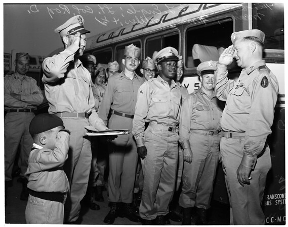 Detail 1 of 4, Army Reservists leave for camp, 1953