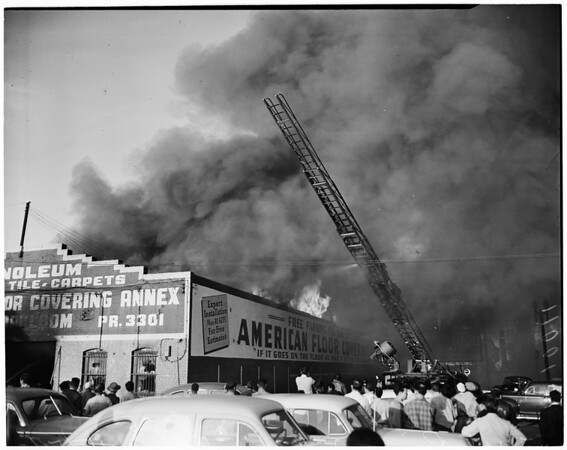 Detail 12 of 19, Fire at Pico Boulevard and Broadway, 1954
