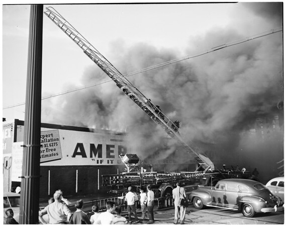 Detail 16 of 19, Fire at Pico Boulevard and Broadway, 1954
