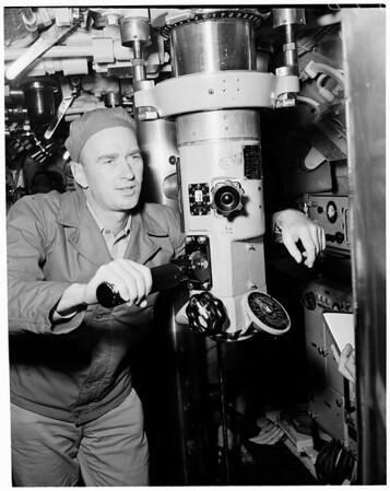 "Navy Reservists aboard submarine USS ""Charr"", 1953"