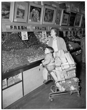 Art exhibit (Gardena Community Art Exhibit) displayed in Clark Market, 14990 south Crenshaw Boulevard, 1953