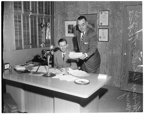Tournament of Roses business (Pasadena), (discussing expenses and other business), 1953