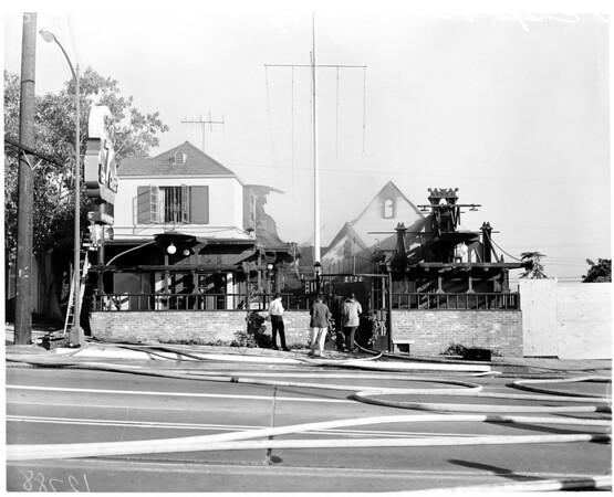 7 Chefs Restaurant fire on 8756 Sunset Boulevard, 1960