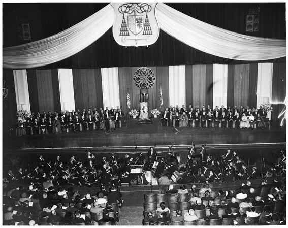 Cardinal McIntyre at Shrine Auditorium, 1953