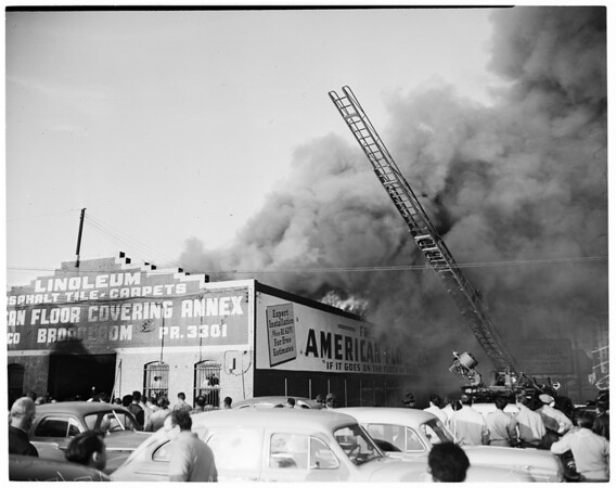 Detail 4 of 19, Fire at Pico Boulevard and Broadway, 1954